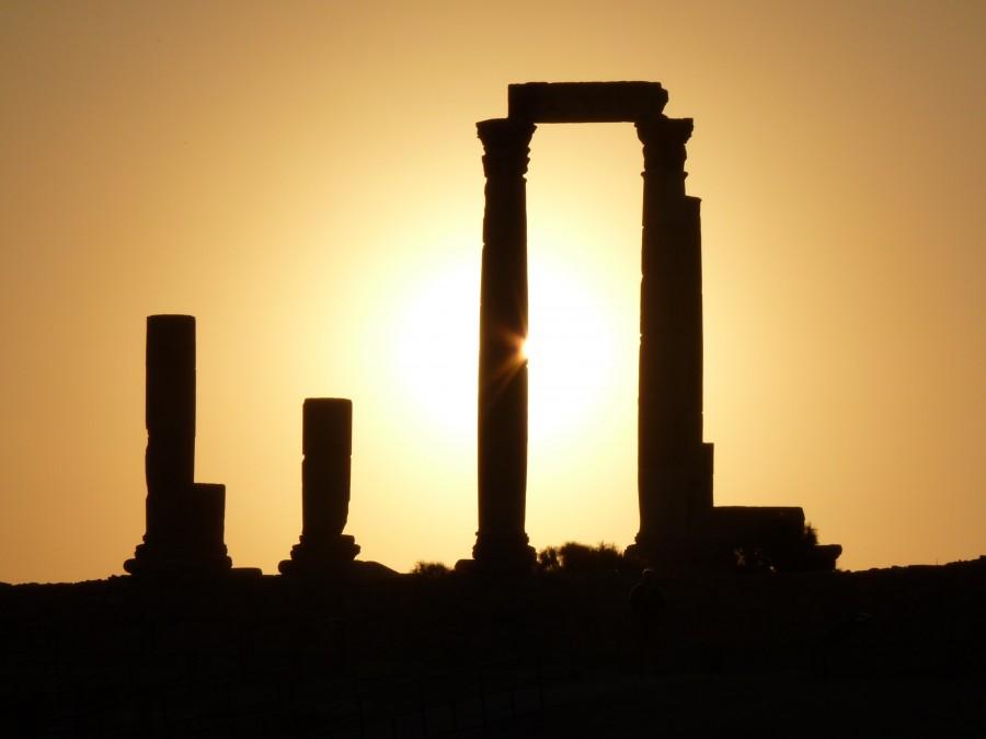 colina de la ciudadela, amman, jordania, vacaciones, de viaje, medio oriente, ruina, piedra, pilar, puesta del sol, romance,