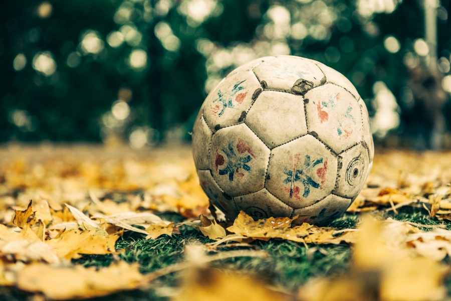 objeto, pelota, balon, otoño, futbol, nadie, viejo, antiguo, deporte,