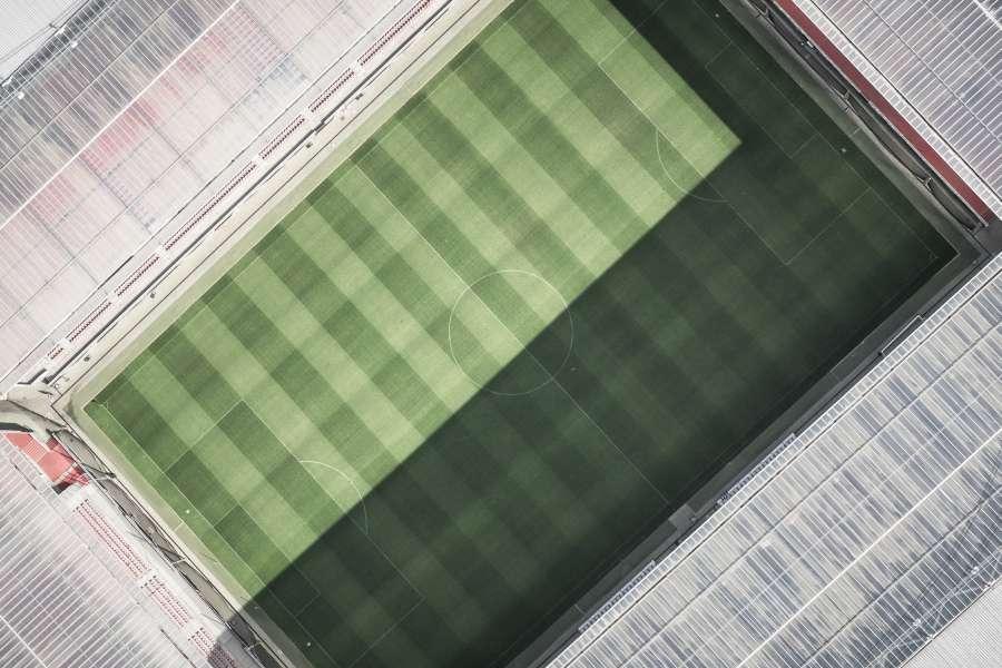 futbol, estadio, vacio, deporte, vista aerea, nadie, campo de juego, cesped, tribuna,