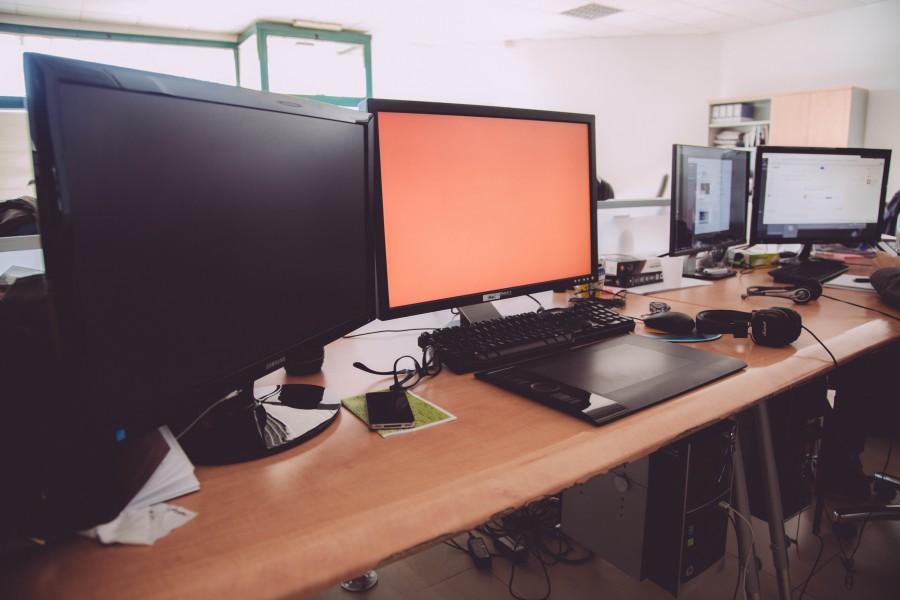 escritorio, trabajo, desk, oficina, interior, monitor, computador, tecnologia, nadie,