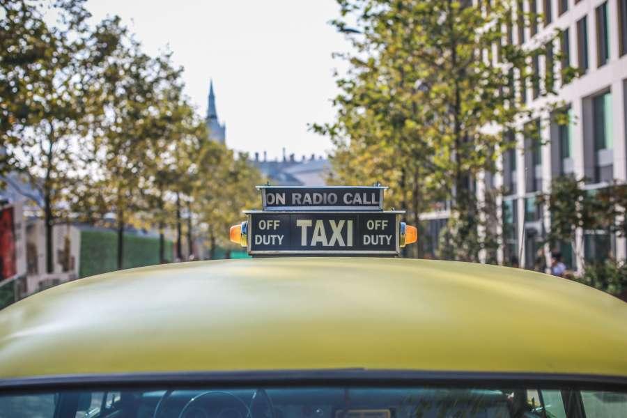 taxi, transporte, techo, amarillo, detalle, cartel, exterior, antiguo,