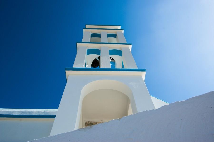 grecia, iglesia, dia, verano, arquitectura, mediterraneo, cielo azul,