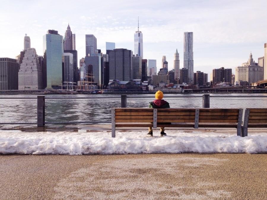 una persona, invierno, ciudad, edificio, edificios, relax, aire libre, exterior, dia, rio, uno, nieve, frio,