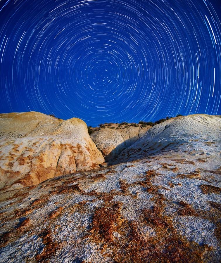 Cielo, estrella, roca, noche, paisaje