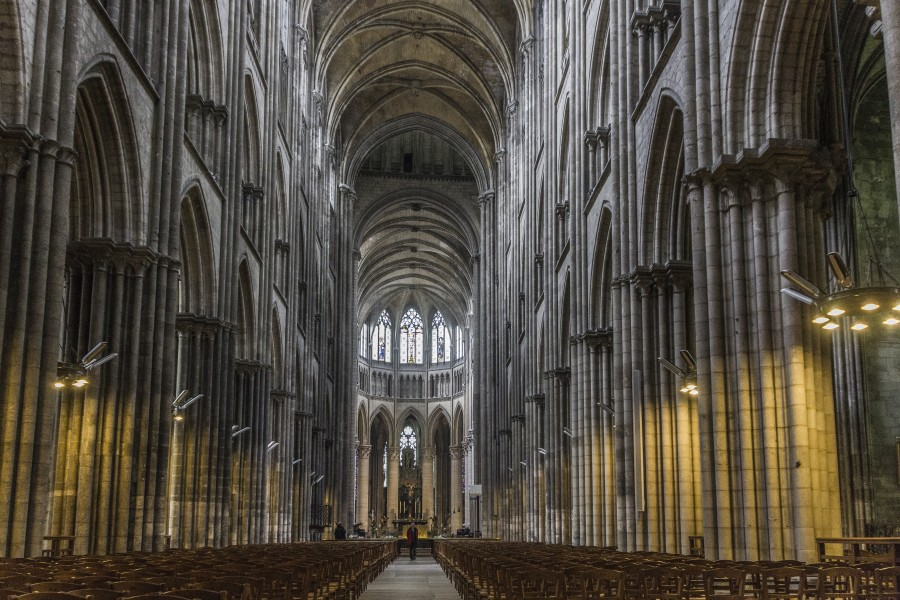 iglesia, gótico, normandía, la construcción de, arquitectura, francia , religión, interior, columnas, arte, francés