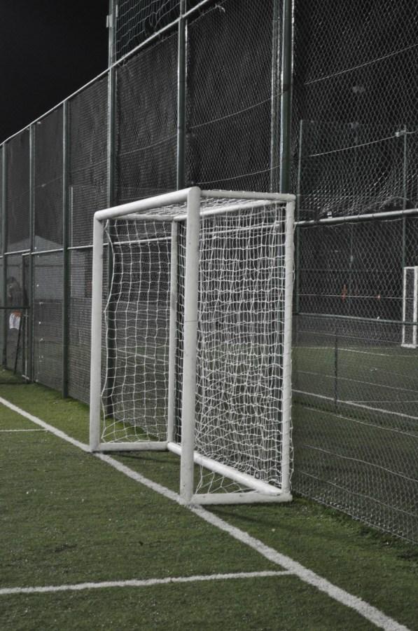 arco, futbol, futsal, noche, deporte, nadie, red, porteria,