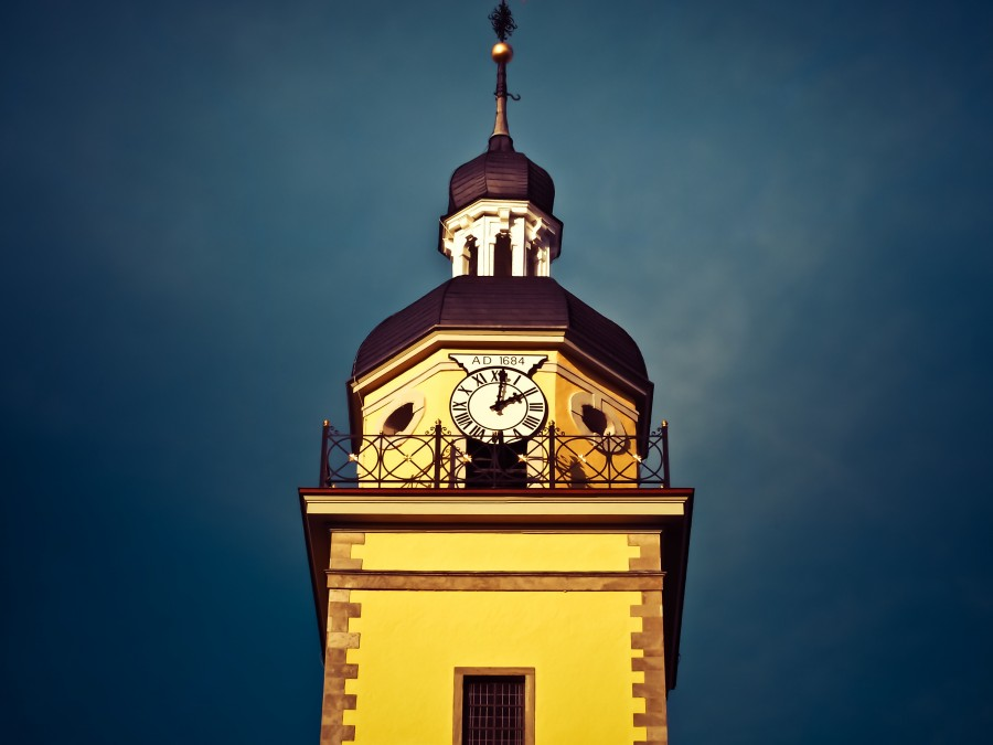 iglesia, aguja, torre del reloj, edificio, cielo, arquitectura, abendstimmung, el casco antiguo, Düsseldorf, edad, ciudad, urbano, europa, noche, alemania,