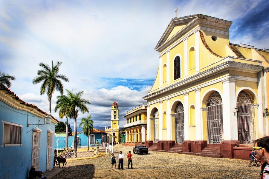 cuba, cielo azul, iglesia, arquitectura, urbano,