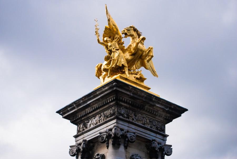 Paris, Francia, Estatua, Puente Alejandro III, bronce, oro, caballo, alado, Puente, Sena, Arquitectura, Monumento, Dorado, Beaux Arts
