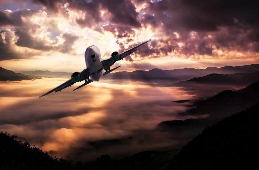 paisaje, aeronaves, nubes, tormenta, puesta del sol, iluminación, cielo, volando, avion, fondo de pantalla hd