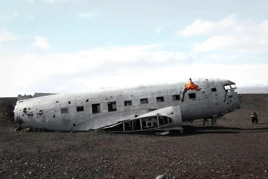 avion, perdido, abandonado, viejo, fuselaje, islandia, aventura, descubrimiento, perdida, perder, accidente, llegar, concepto, transporte,
