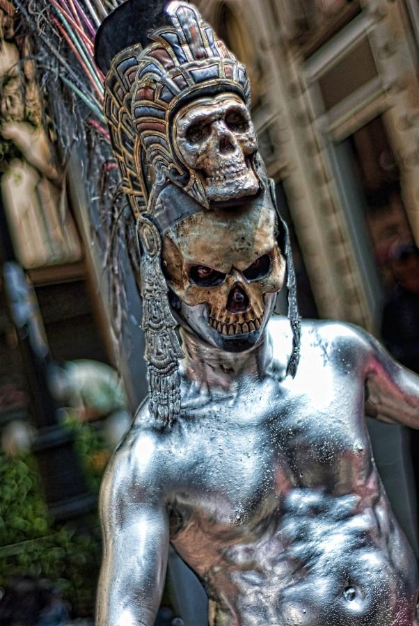 maquillaje, arte, rendimiento, calle, actor, cráneo, muertos, plata, de miedo, muerte, leyenda, folclore, mexico, ciudad, vivir, cara, modelo, buscar, estilo, modelo de maquillaje, cultura, dia de los muertos, hombre