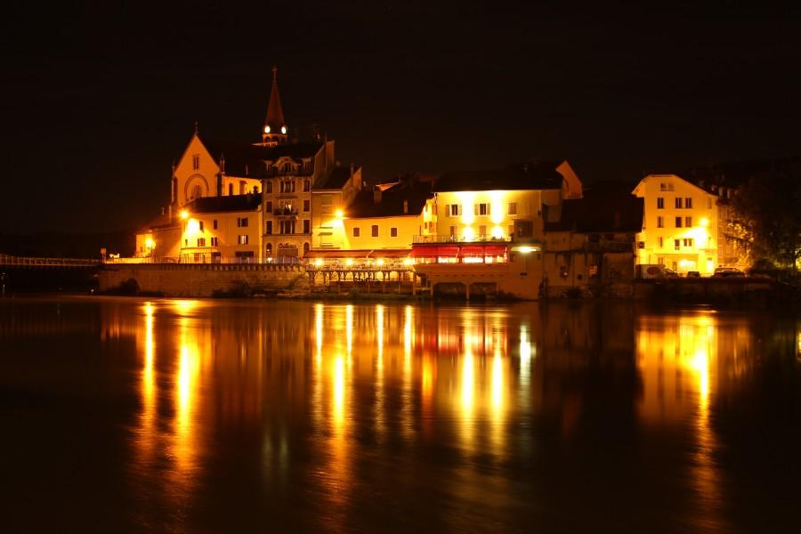 seyssel, francia, ródano, anochecer, noche, oscuridad, luces, iluminado, paisaje, reflejo, Cantón de Seyssel, paisaje
