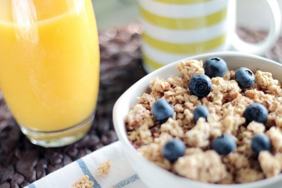 cup, drinking orange juice, fresh fruit, citrus, cereal, blueberries, blueberry, breakfast, bowl, cereal,