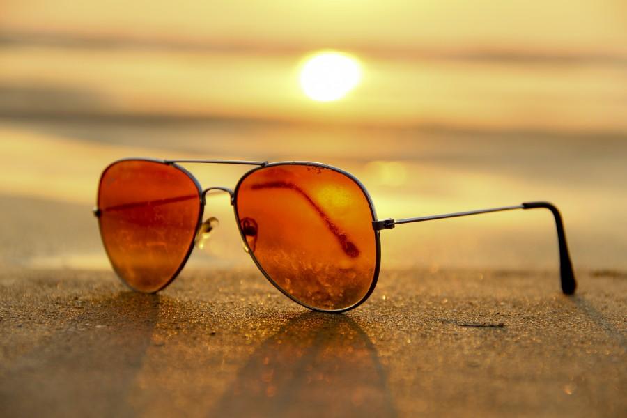 lentes de sol, atardecer, marron, gafas, soleado, retro, vintage, objeto,