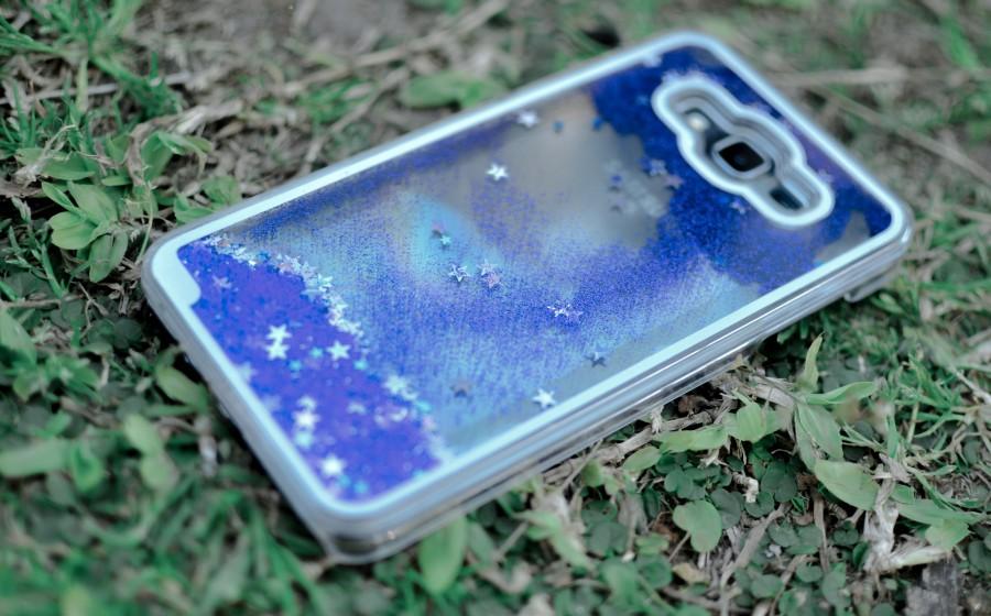 tecnología, celular, teléfono inteligente, smartphone, césped, brillo, funda, móvil, estrellas, decoración, violeta, parte trasera, carcasa