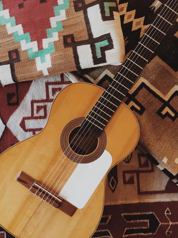 Guitarra, cuerda, instrumento, música, alfombra, méxico, objeto, inspiración