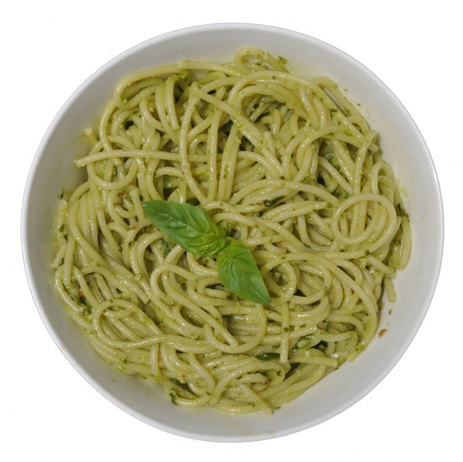 Vista de Arriba, Pastas, Pasta, Fideos, Pesto, Albahaca, Verde, Comidas y bebidas, Spaghetti, Comida Italiana, Fondo Blanco, Nadie,