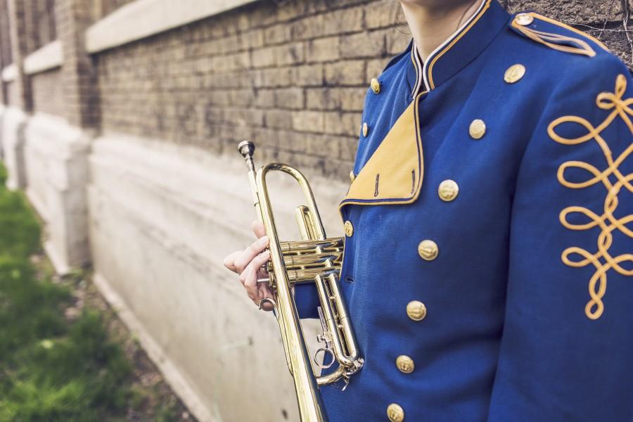 trompeta, musico, hombre, trompetista, banda, musical, vestimenta, traje, uniforme,