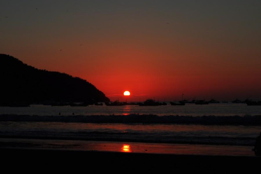 atardecer, sol, puesta de sol, ocaso, costa, ecuador, puerto lopez, manabi, america, latino, latina,
