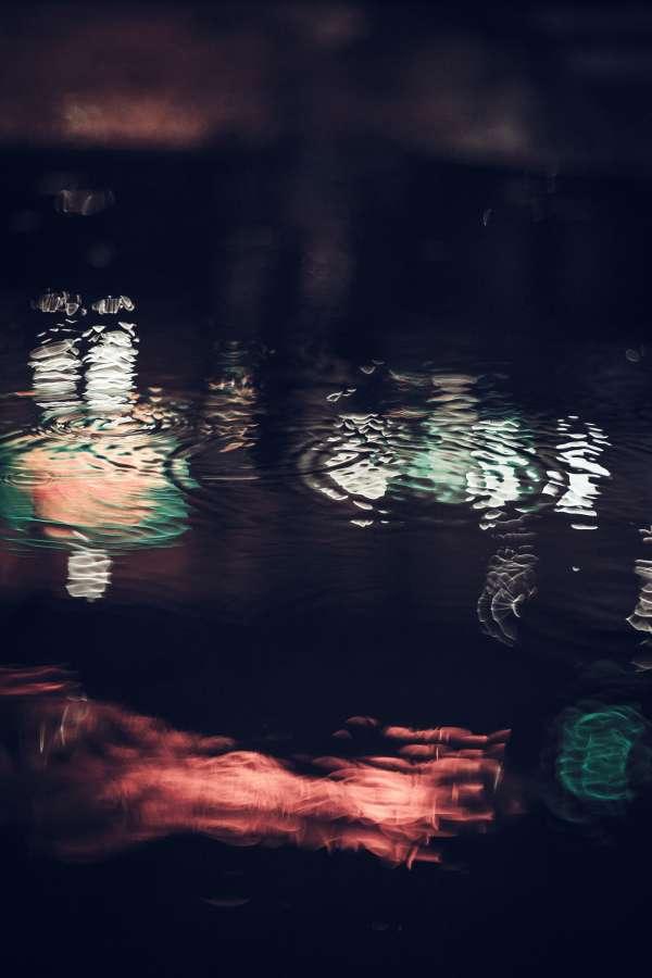 lluvia, mojado, agua, reflejo, calle, exterior, noche, fondo, background, nadie,