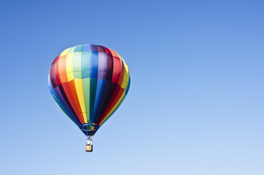 Globo aerostatico, cielo azul, cielo, volar, transporte, uno, paisaje, dia, colorido, colores