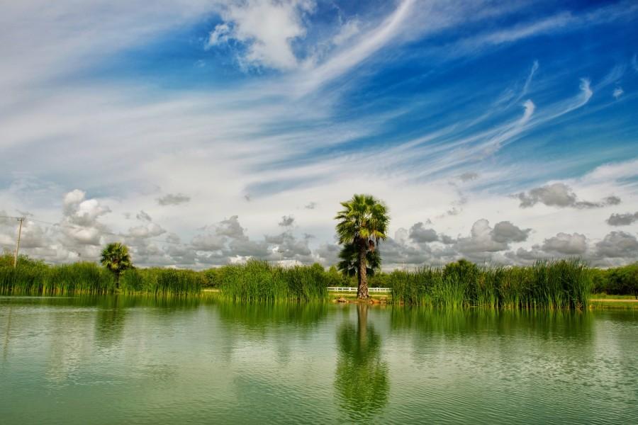 paisaje, cielo, nubes, naturaleza, azul, agua, cielo azul, sol, reflejo, calma, luz, méxico, paz, relax