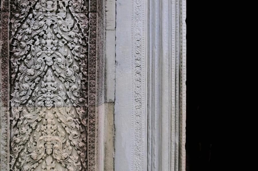 Asia, templo, antiguo, arquitectura, camboya, talla, detalle, puerta, marco, ruinas, piedra,
