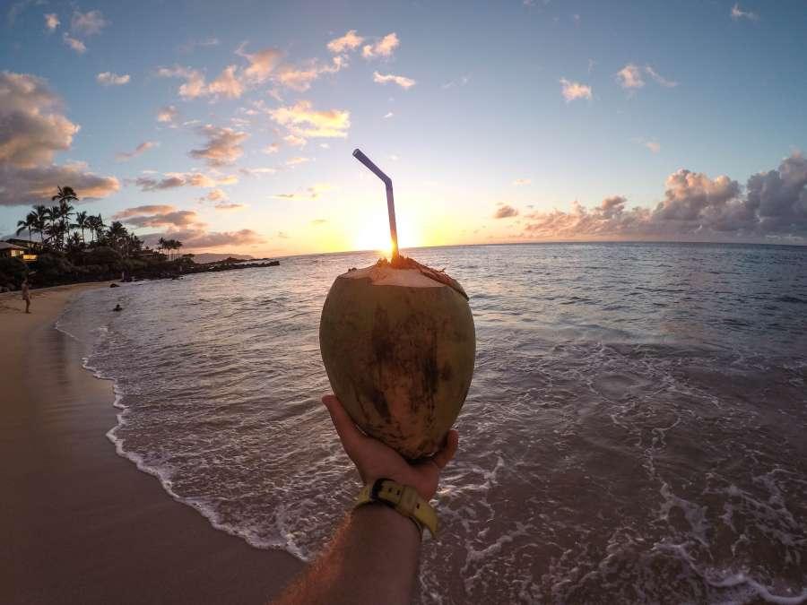 verano, vacaciones, coco, mano, bebida, cocktail, sostener, tropical, playa, atardecer, paisaje, una persona, hombre, sorbete,