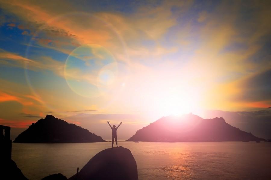 Asia, Mochilero, vacaciones, puesta del sol, viaje, mujer, fondo, celebrar, costa, llamarada, año sabatico, isla, hombre, mar, vacaciones, celebracion, alegria, libertad,