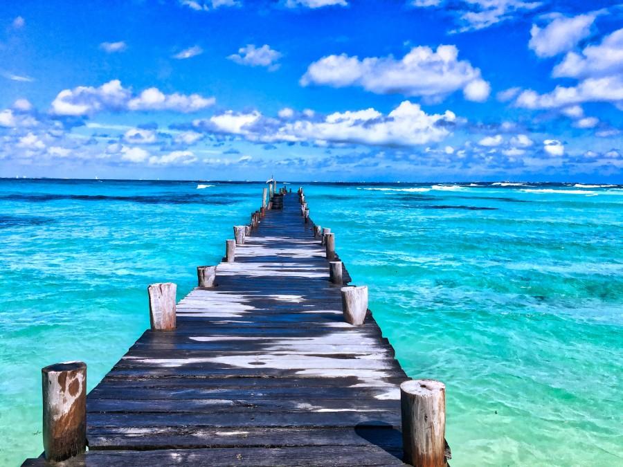méxico, paraíso, playa, expedición, el descanso, verano, océano, atlántico, puente, nubes, cancún, quintana roo, mar, vacaciones, relax, muelle, paisaje