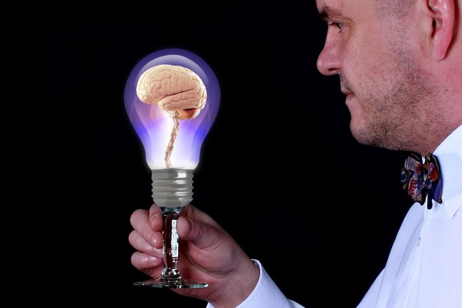 creatividad, concepto, lamparita, ilustracion, hombre, adulto, cerebro, medicina, ciencia, interior, mirar, fondo negro, idea, ideas,