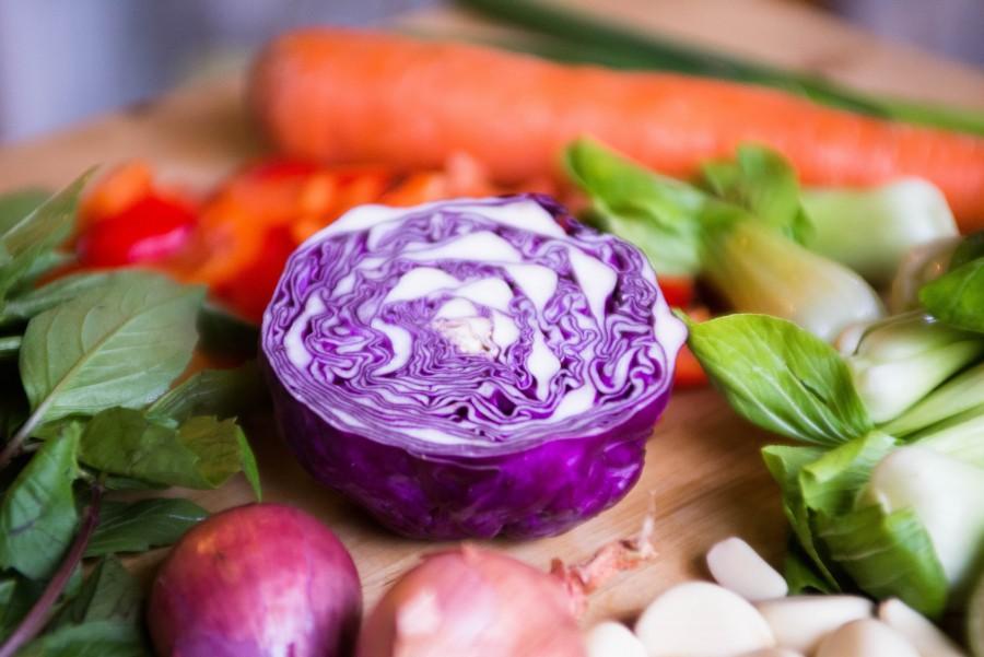vegetales, vegetal, comida, repollo, col, zanahoria, saludable, ensalada, cocinar, mitad, cortado,