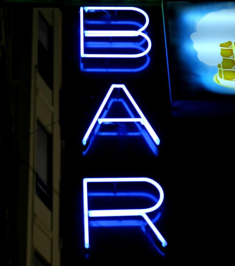 bar, letrero, cartel, neon, azul, noche, iluminado,