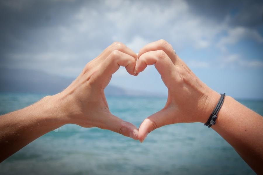 san valentin, amor, corazon, mano, viaje, playa, mar, forma, concepto,
