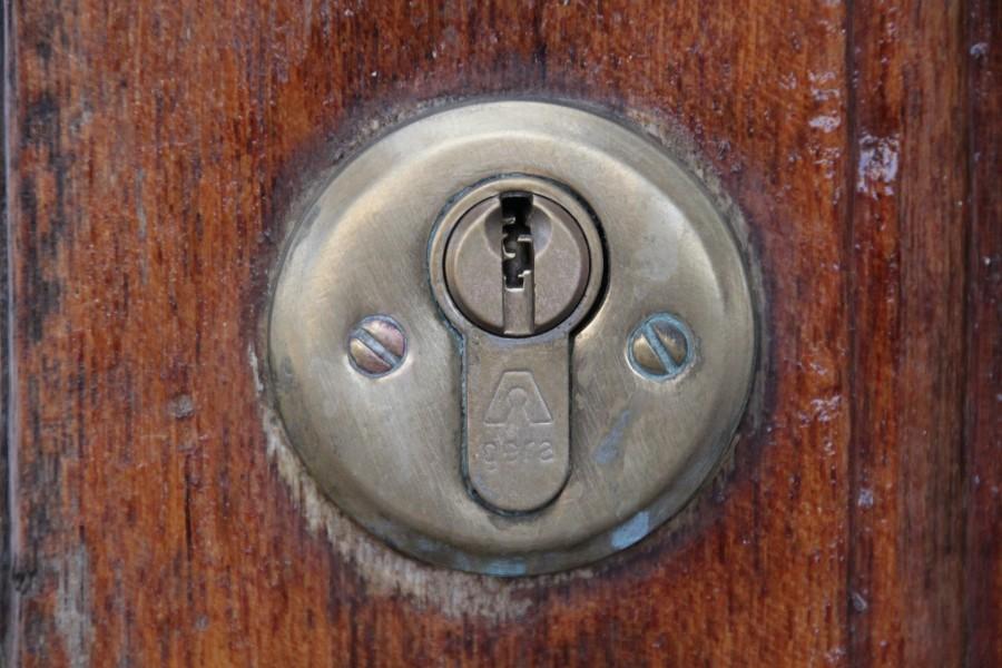 cerradura, cerrojo, ranura, puerta, seguridad, primer plano, madera,