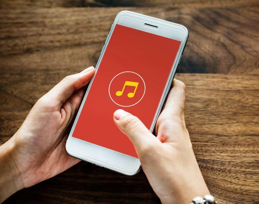 manos, mujer, una persona, smartphone, musica, concepto, app,