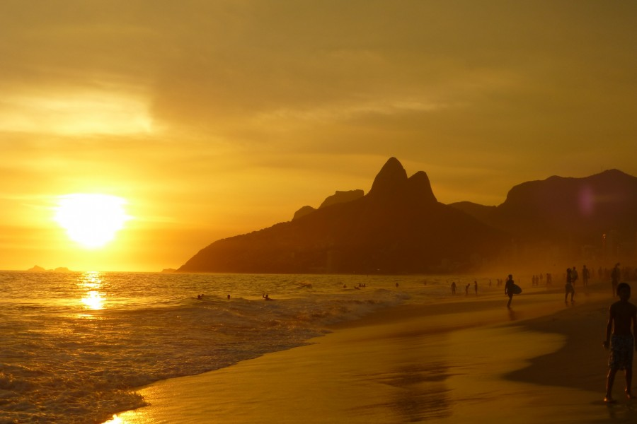 costa, playa, atardecer, ipanema, rio de janeiro, brasil, america latina, paisaje, verano, gente,