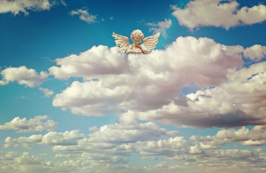 angel, nubes, cielo, religion, concepto, celestial, espiritu, catolico, angelical,