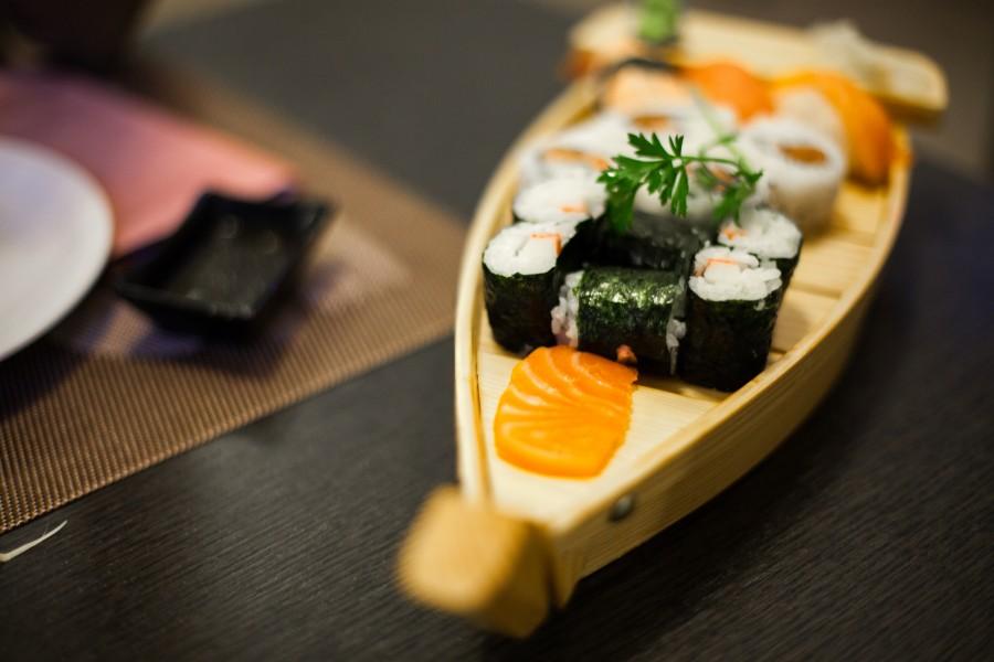 sushi, comida, plato, presentacion, arroz, salmon,