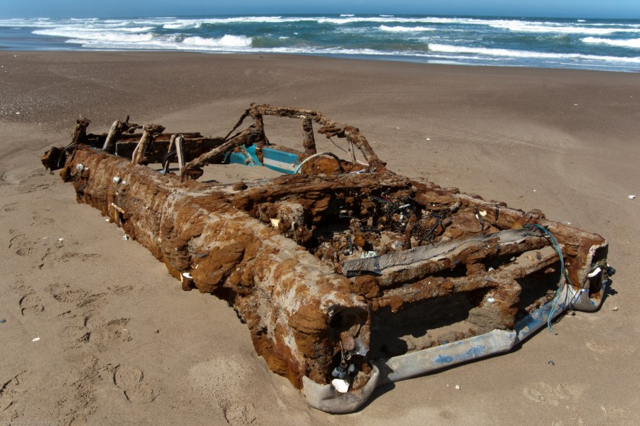 auto, playa, antiguo, pontiac, abandonado, viejo, oxido, deteriorado, deterioro,