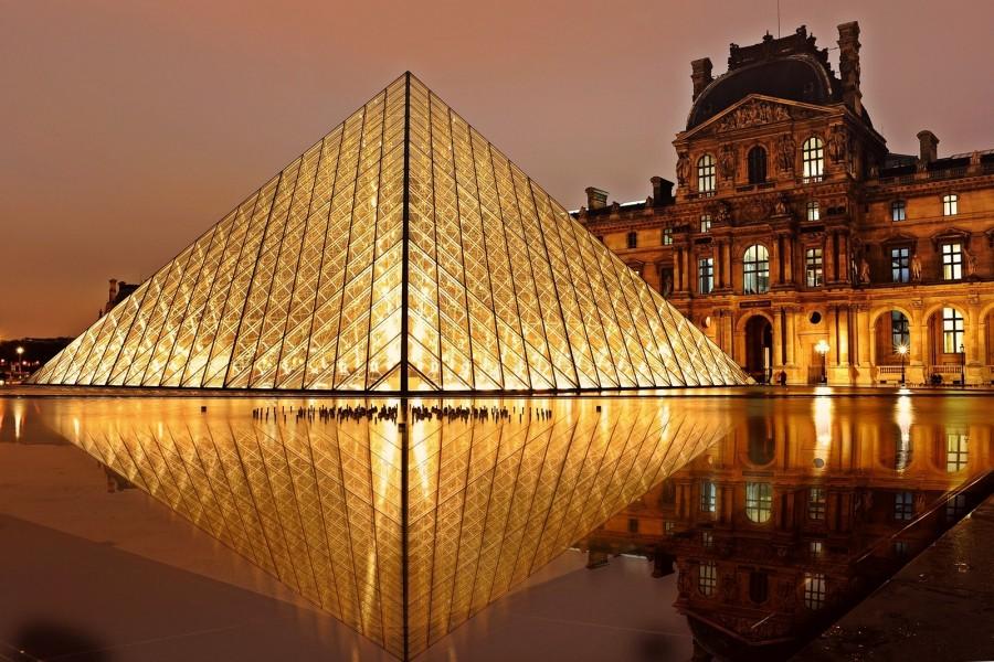 louvre, pirámide, parís, arquitectura, turismo , francia, mundo, viaje, paisaje, luces, iluminado, noche