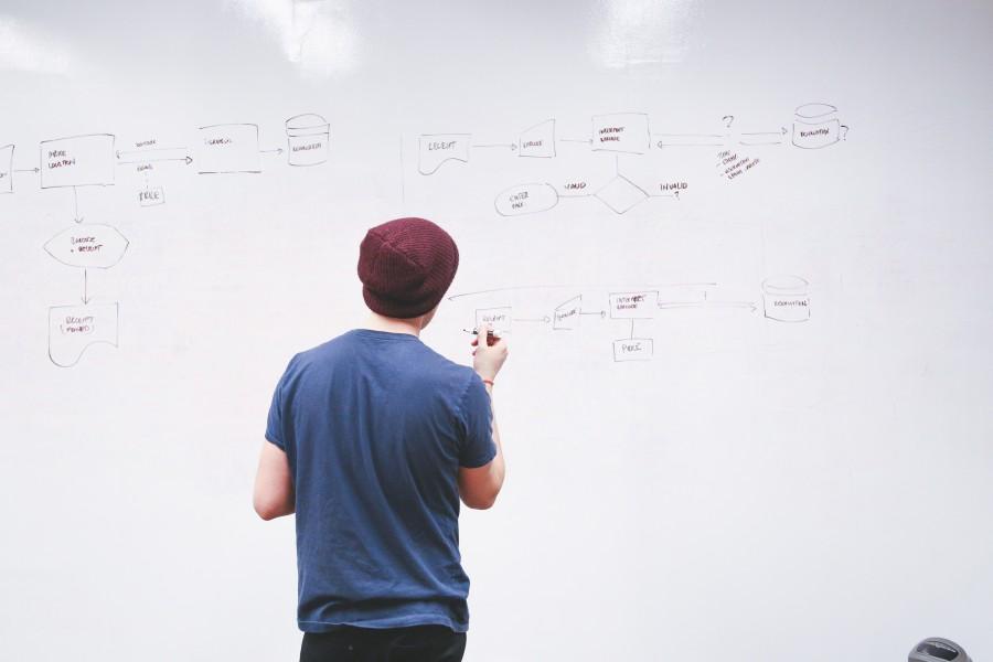 hombre, gente, joven, 20 años, pizarron, planificacion, organigrama, concepto, pensar, diagrama, flujo, idea, educacion, universidad, pizarra,