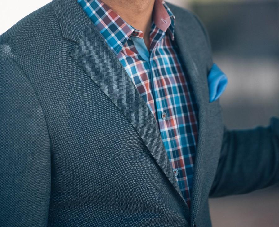 azul, casual, cheque, detalle, chaqueta, hombre, tela escocesa, bolsillo, pañuelo de bolsillo, camisa, elegante, estilo, moda,