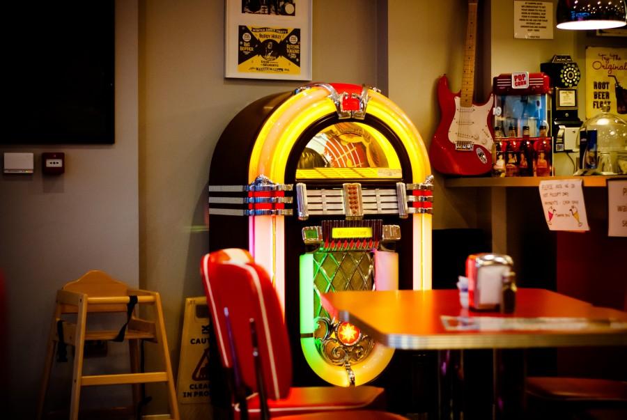 bar, rockola, musica, interior, 60s, vintage, sonido, nadie, interior,