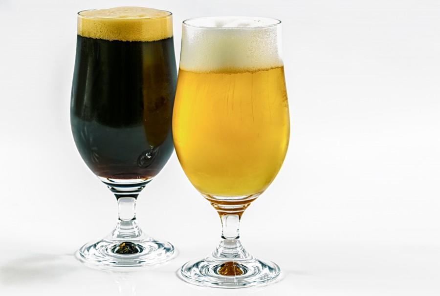 cerveza, bebida, refrescante, artesanal, copa, espuma, dos, negra, dorada, rubia,