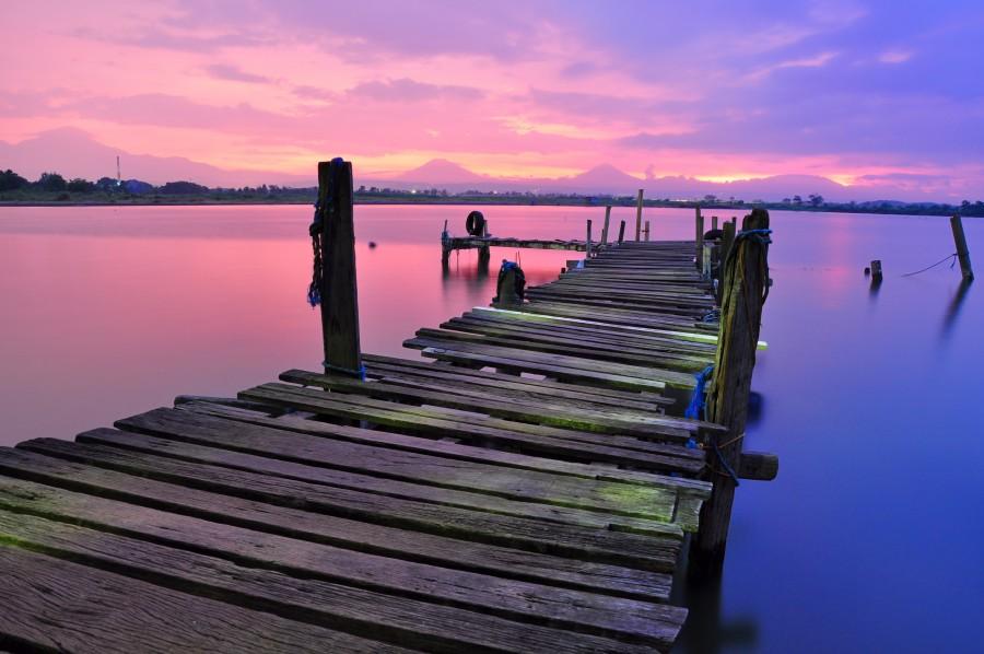 Muelle, paisaje, atardecer, rosa, tranquilidad, nadie, madera,