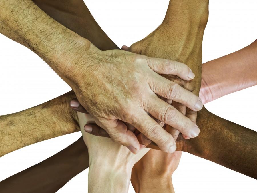 manos, trabajo en equipo, espíritu de equipo, alegrarse, equipo, personas, grupo, juntos, unidad, amistad, asociación, persona, unión, de la mano, diversidad, unir en la diversidad, amigos, carrera