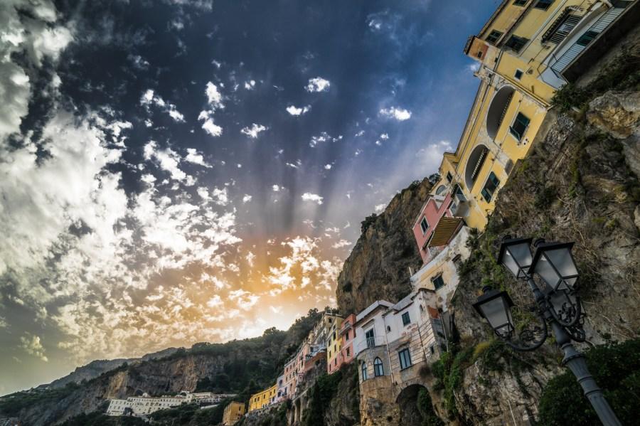 amalfi, italia, arquitectura, campania, ciudad, nubes, europa, colina, casa, casas, paisaje, atardecer, urbano,