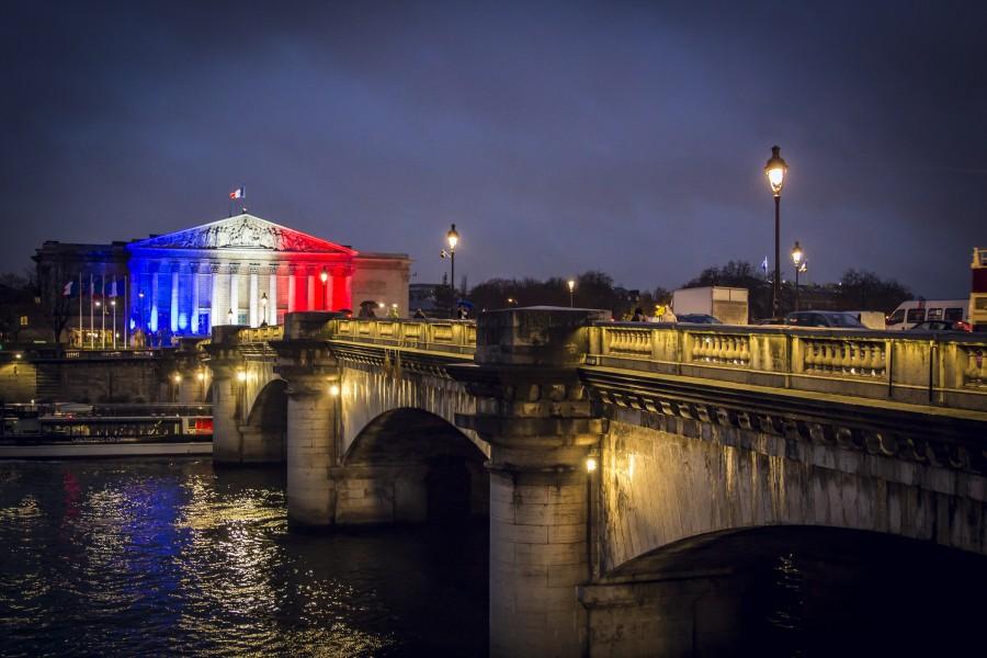 parís, francia, bandera, europa, francés, el turismo, famosos, paris francia, europeo, puente, paisaje, colores, iluminado, luces, faroles, noche